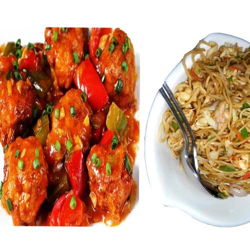Chicken manchurian(boneless 2psc)+chicken noodles