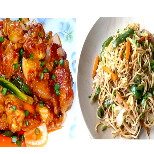 Schezwan chicken(Boneless 4 pieces)+Veg noodles