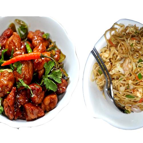 Chilli chicken (Boneless 2 pieces)+Chicken noodles
