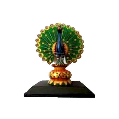 hand painted peacock with wooden base