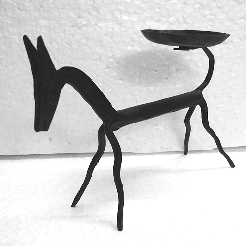 dhokra horse candle stand